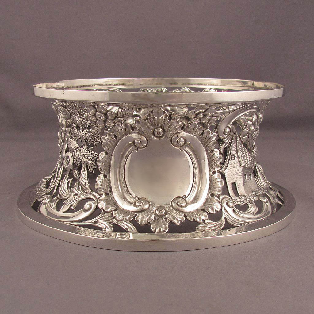 Irish Victorian sterling silver dish ring embossed with pastoral scenes by Charles Lambe, Dublin 1898...