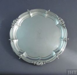 A fine quality George IV sterling silver salver by Benjamin Smith, hallmarked London 1824. Octofoil shape with applied scroll border