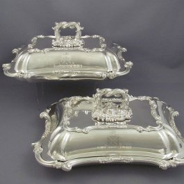 Pair of Victorian Sterling Silver Entree Dishes