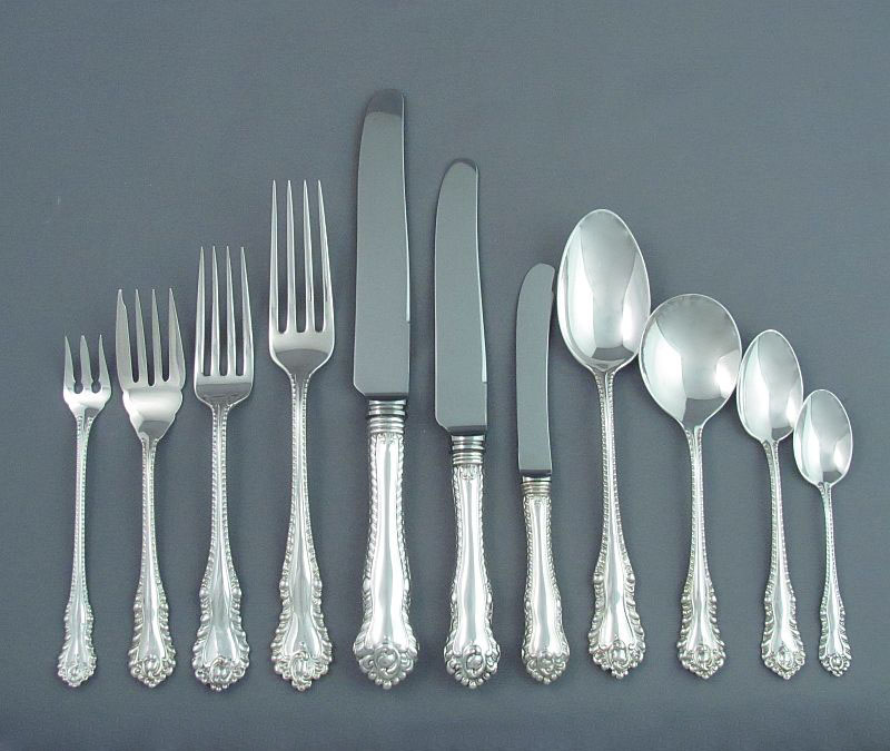An extensive Birks Gadroon pattern sterling silver flatware service for twelve, dinner and luncheon size comprising the following: