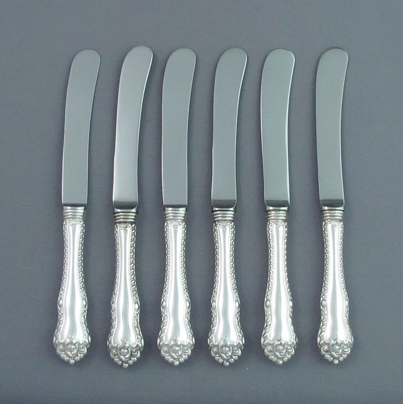 A set of six sterling silver butter spreaders in Gadroon pattern by Henry Birks & Sons, Montreal c. 1960.