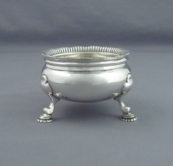 A pair of large and fine quality George V sterling silver open salts by D & J Wellby, hallmarked London 1915. Georgian style