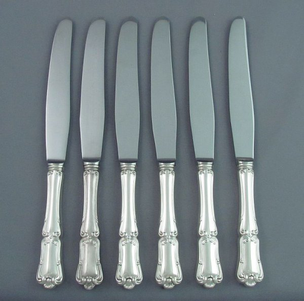 A set of six sterling silver dinner knives in Francis I pattern by Henry Birks & Sons, Montreal c. 1960.