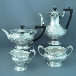 A handmade late Victorian sterling silver tea set by Wakely & Wheeler, hallmarked London 1897-8.  This fine quality Victorian
