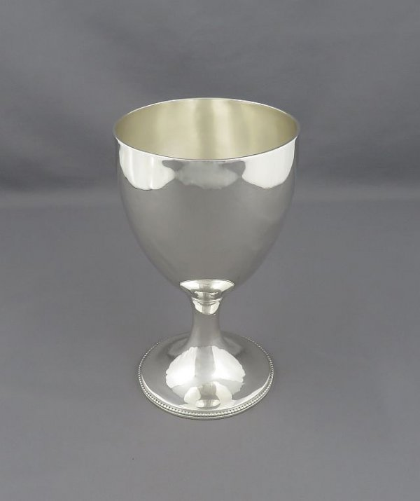 large George III sterling silver goblet by Charles Wright, hallmarked London 1782. Tapering bowl on pedestal foot with bead