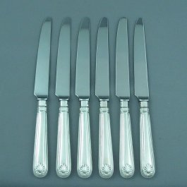A set of 6 modern sterling silver dinner knives in Thread & Shell pattern (matches with Fiddle Thread & Shell), with tapered stainless steel