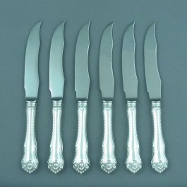 "A set of six sterling silver steak knives in Birks Gadroon pattern, Montreal c. 1970. 8 ⁄8"" (21cm)"