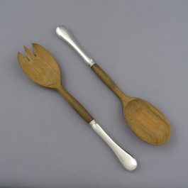 A pair of sterling silver and wood salad servers in the Old English pattern by Henry Birks & Sons, Montreal c. 1920
